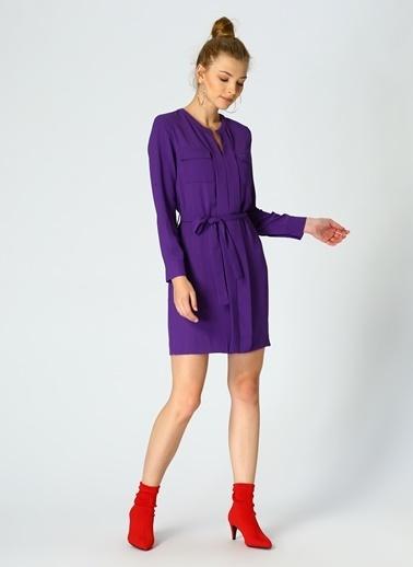 Random Cep Detaylı Beli Kuşaklı Elbise Mor